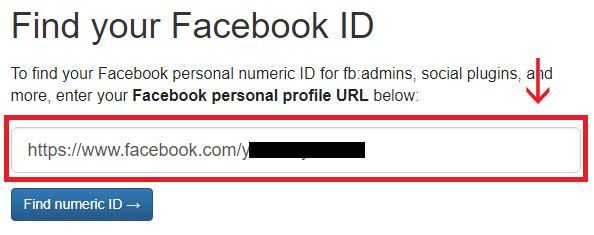 Fasebook ID確認画面